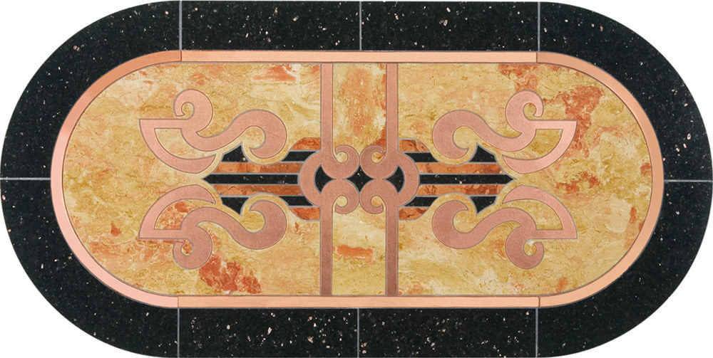 Ashanti Granite, Marble & Copper Deco Medallion | Tile Floor Medallion
