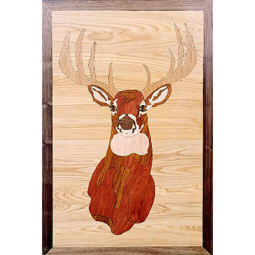 Deer Head Wood Medallion | Floor Medallion