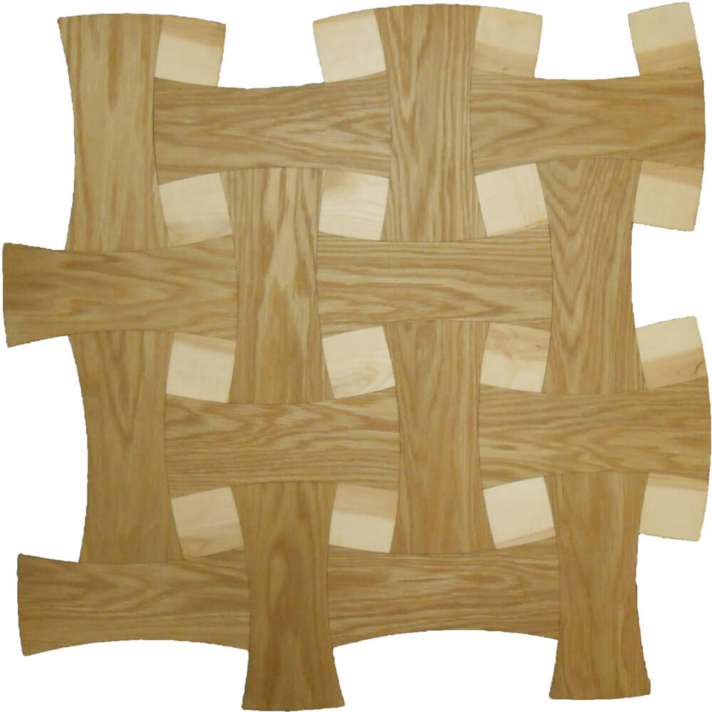 Maple & Plain-Sawn White Oak Basketweave Parquet Tile | Parquet Flooring