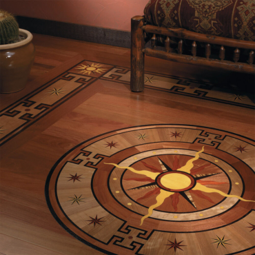 Del Sol Wood Medallion, Border, and Border Corner | Floor Medallion, Border, and Border Corner | American Cherry, Padauk, Sipo, Wenge, Yellowheart, and Zebrawood