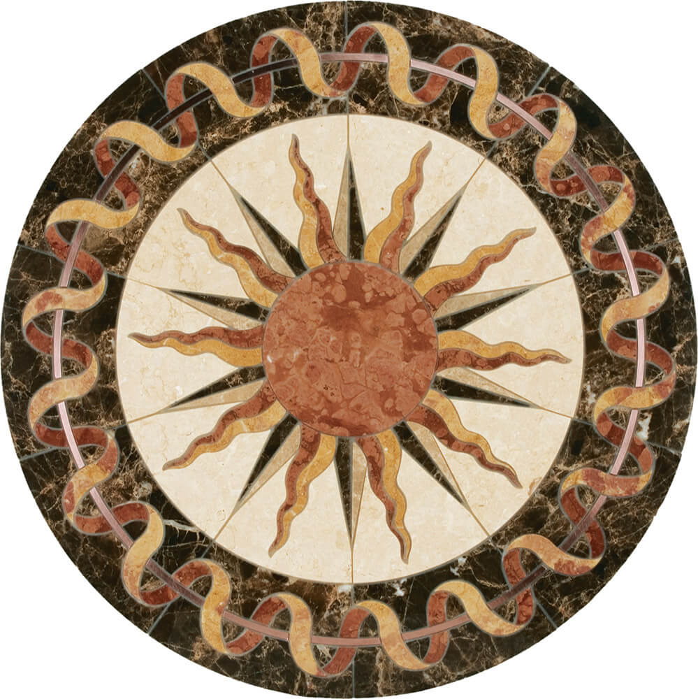 Helios Copper, Limestone, & Marble Medallion | Floor Tile Medallion