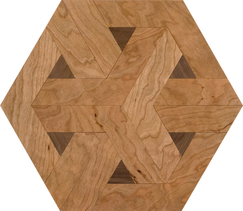 American Cherry & Walnut Modern Hexagon Parquet Tile | Parquet Flooring